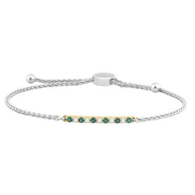 Adjustable Bracelet with Created Emerald & 0.15 Carat TW of Diamonds in 10ct Yellow Gold & Sterling Silver