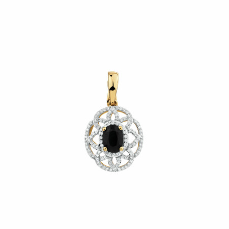 Pendant with Sapphire & 0.50 Carat TW of Diamonds in 10ct Yellow & White Gold