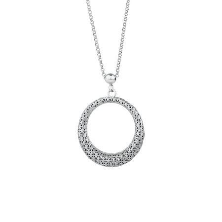 Patterned Circle Pendant in Sterling Silver