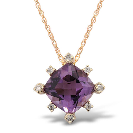 Pendant with Amethyst and Diamond in 10ct Yellow Gold