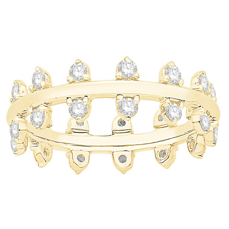 Zipper Ring with 0.89 Carat TW of Diamonds in 10ct Yellow Gold