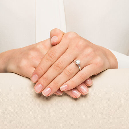 Solitaire Engagement Ring with a 1 1/2 Carat Diamond in 14ct White Gold