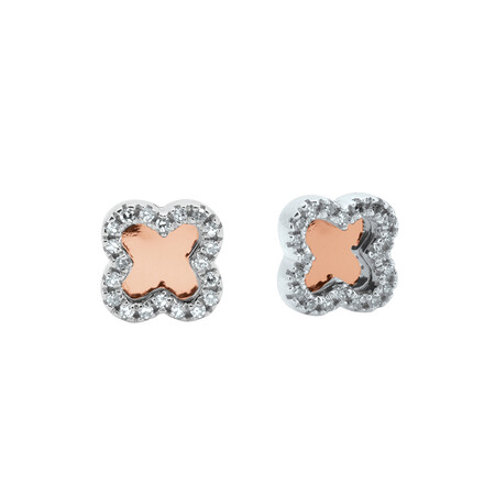 Stud Earrings with Diamonds in 10ct Rose Gold & Sterling Silver