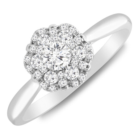 Flower Cluster Ring with 0.35 Carat TW of Diamonds in 10ct White Gold