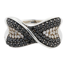 Online Exclusive - Ring with White & Black Cubic Zirconia in Sterling Silver
