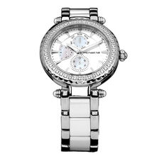 Ladies Watch with Mother of Pearl & cubic Zirconias in White Ceramic & Stainless Steel