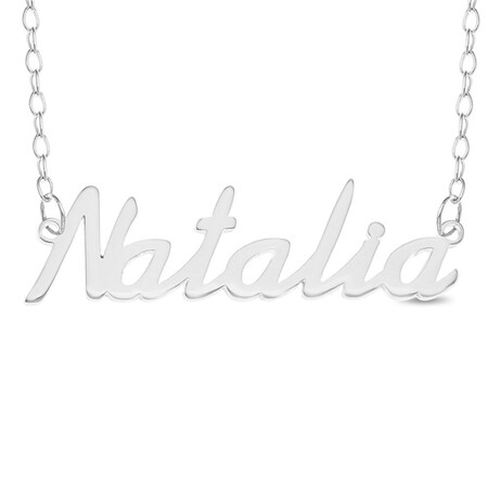Natalia Name Plate Necklace In Sterling Silver