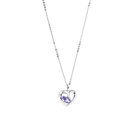 Heart Pendant with Amethyst in Sterling Silver