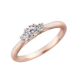 Three Stone Ring with 0.34 Carat TW of Diamonds in 10ct White & Rose Gold