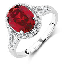 Online Exclusive - Ring with Created Ruby & 0.20 Carat TW of Diamonds in 10ct White Gold