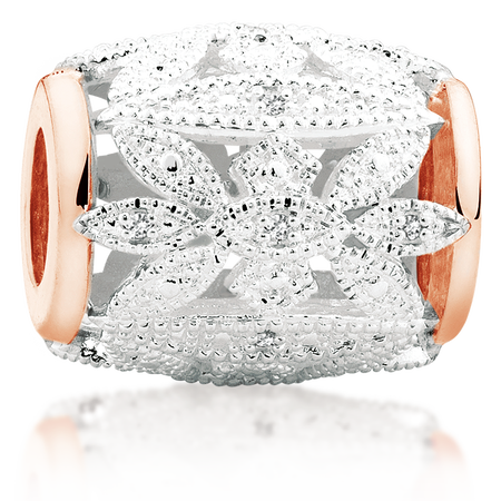 Diamond Set, 10ct Rose Gold & Sterling Silver Art Deco Charm