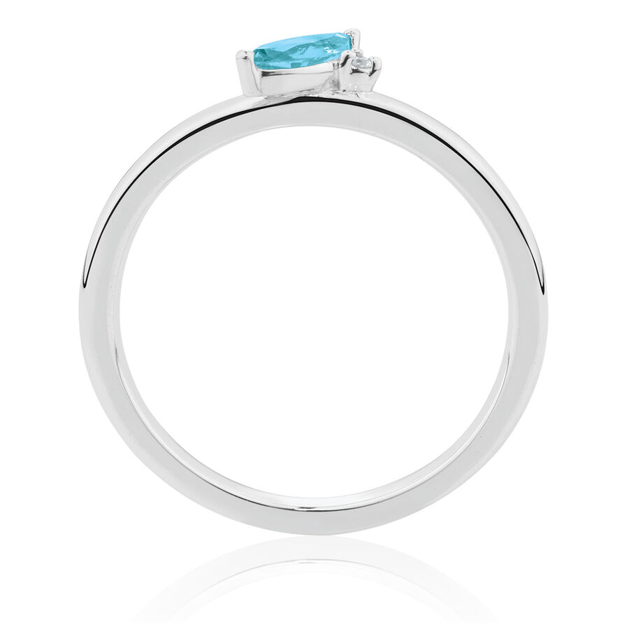 Stacker Ring with Diamond & Blue Topaz in Sterling Silver