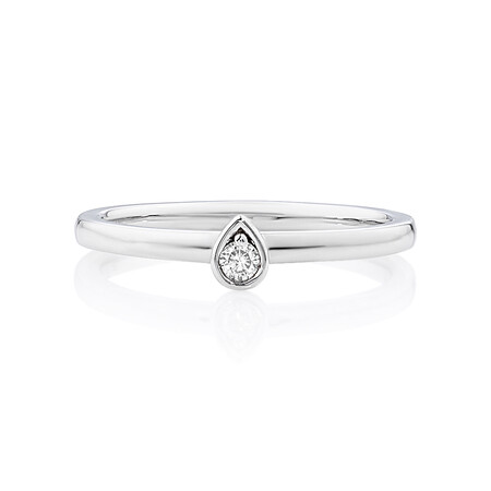 Pear Stacker Ring with Diamonds in Sterling Silver