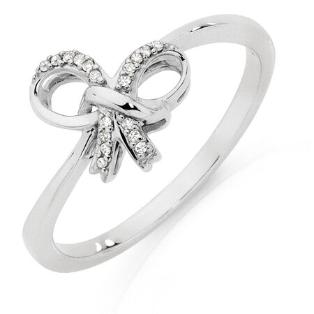 Bow Ring with Diamonds in 10ct White Gold