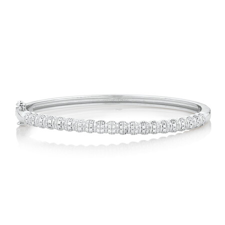 Bangle with White Cubic Zirconia in Sterling Silver