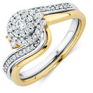 Bridal Set with 0.33 Carat TW of Diamonds in 10ct Yellow & White Gold