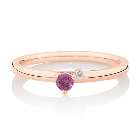 Stacker Ring with Diamond & Rhodolite Garnet in 10ct Rose Gold