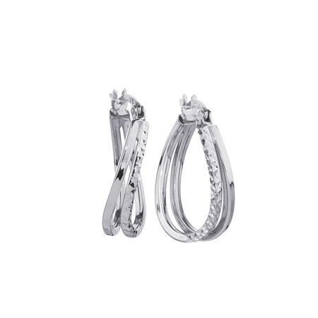 Huggie Earrings in 10ct White Gold