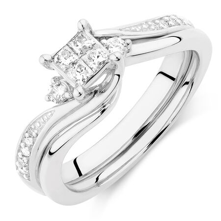 Bridal Set with 1/3 Carat TW of Diamonds in 10ct White Gold