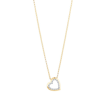 Heart Necklace With 0.10 Carat TW Diamonds In 10ct Yellow Gold