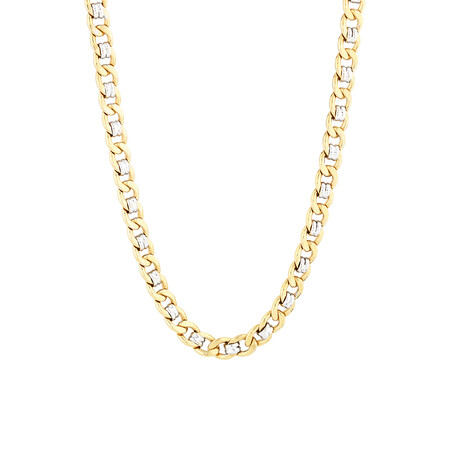 "55cm (22"") Fancy Curb Chain in 10ct Yellow & White Gold"