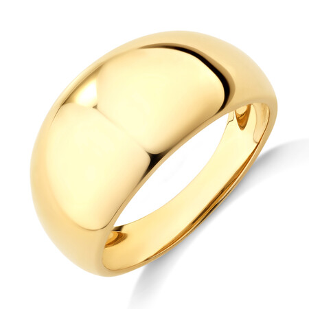 Wide Polished Dome Ring in 10ct Yellow Gold