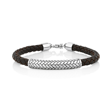 Men's Weave Pattern Bracelet In Brown Leather & Sterling Silver