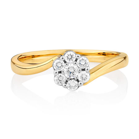 Ring with 1/4 Carat TW of Diamonds in 10ct Yellow & White Gold
