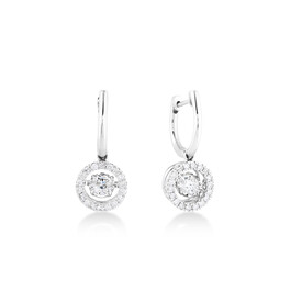 Everlight Drop Earrings with 0.96 Carat TW of Diamonds in 14ct White Gold
