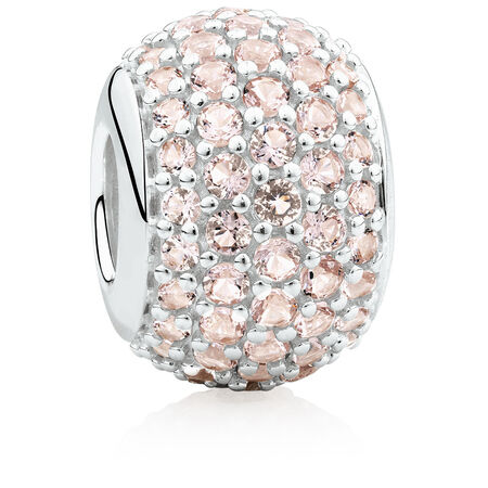 Pave Set Charm with Blush Crystal in Sterling Silver