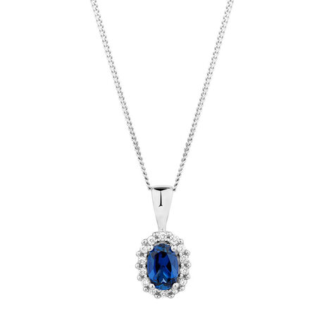 Online Exclusive - Pendant with Created Sapphire & Diamonds in 10ct White Gold