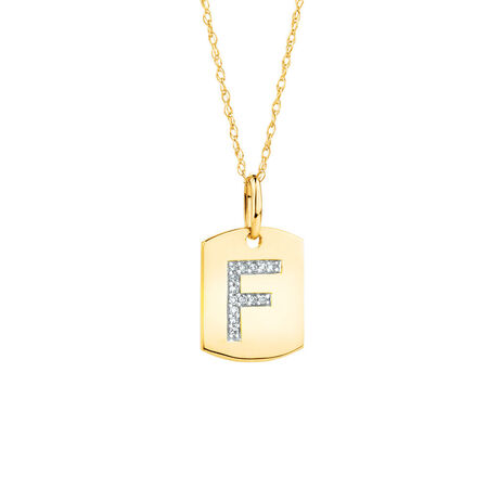 """F"" Initial Rectangular Pendant With Diamonds In 10ct Yellow Gold"