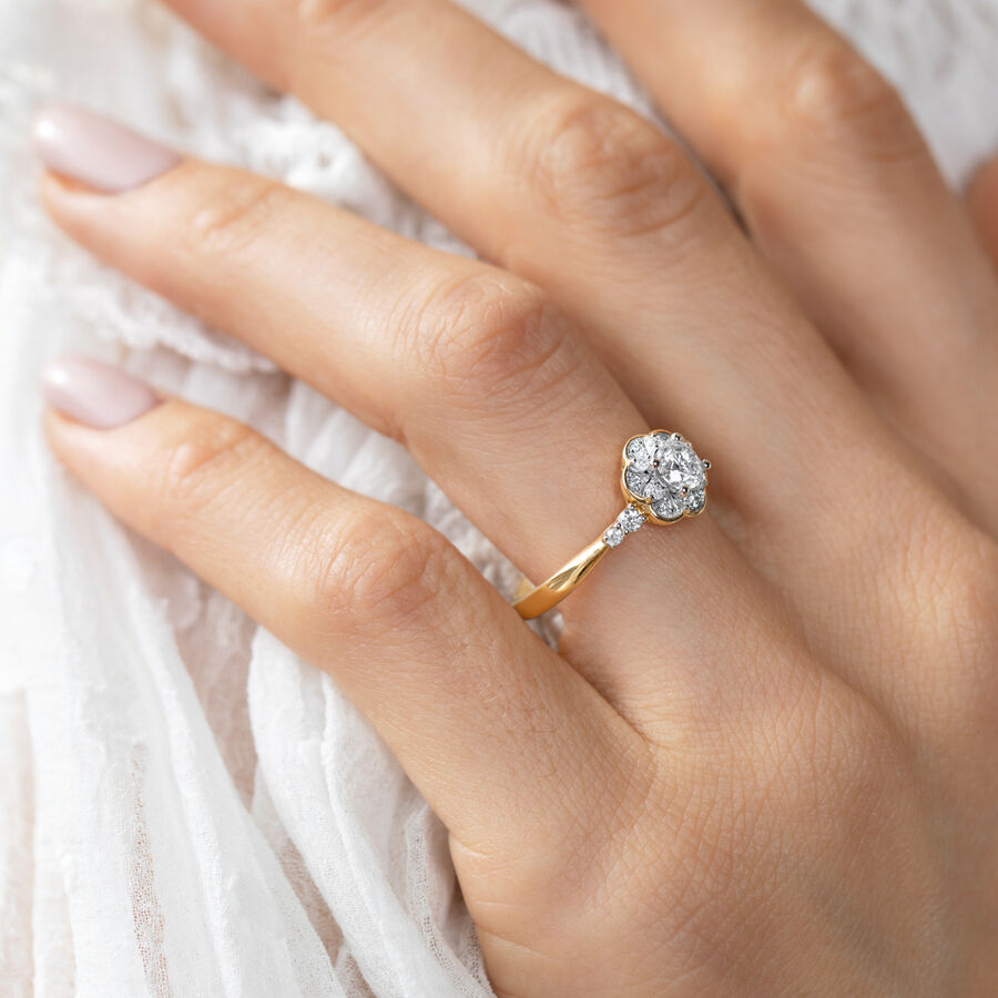 Evermore Engagement Ring with 0.60 TW of Diamonds in 10ct Yellow Gold