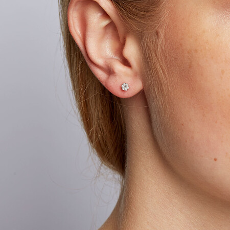 Cluster Stud Earrings with Diamonds in 10ct White Gold