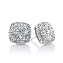 Cluster Stud Earrings with 2 Carat TW of Diamonds in 10ct White Gold