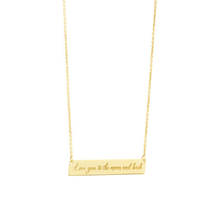 Engraved Bar Necklace in 10ct Yellow Gold