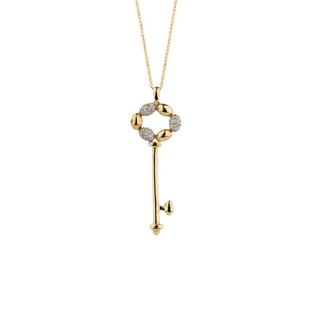 Online Exclusive - Key Pendant with Diamonds in 10ct Yellow Gold