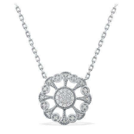 Art Deco Circle Necklace With Diamonds In Sterling Silver