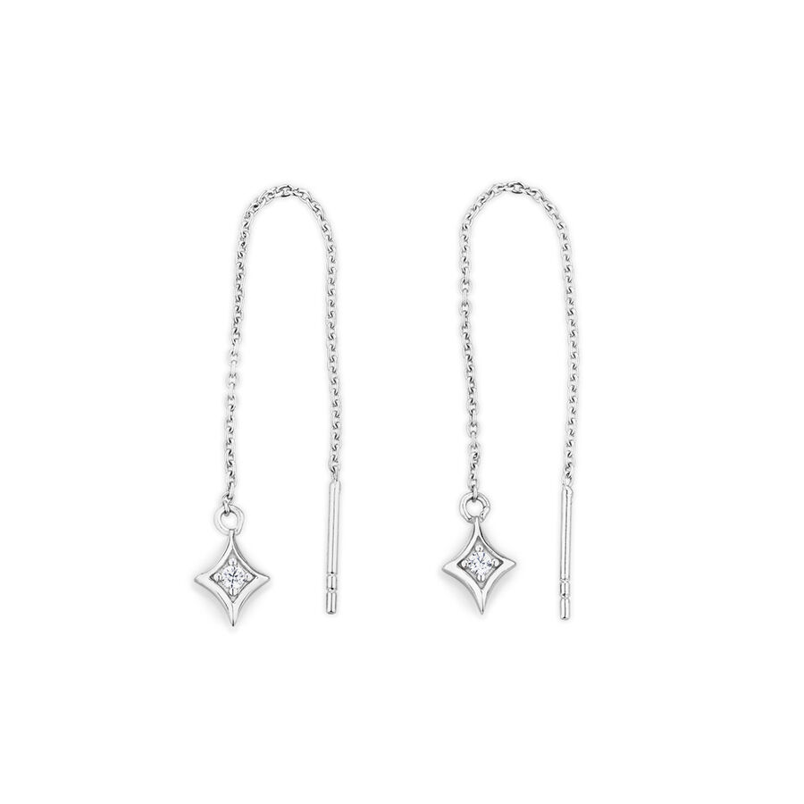 Threader Earrings with Cubic Zirconia in Sterling Silver