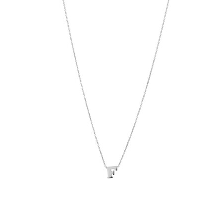 'F' Initial Necklace in Sterling Silver