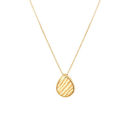 Patterned Pear Pendant in 10ct Yellow Gold