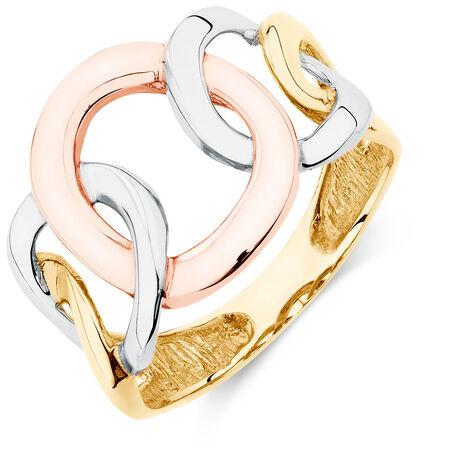 3 Circle Ring in 10ct Yellow, White, & Rose Gold