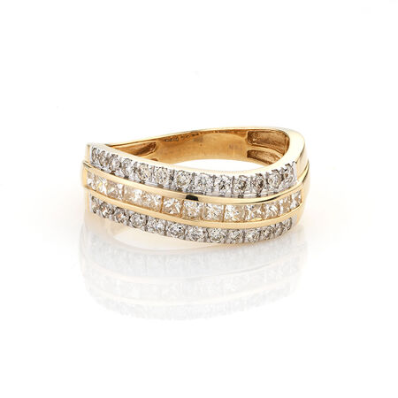 Online Exclusive - Diamond fashion Ring with 0.85 Carat TW of Diamonds in 10ct Yellow Gold