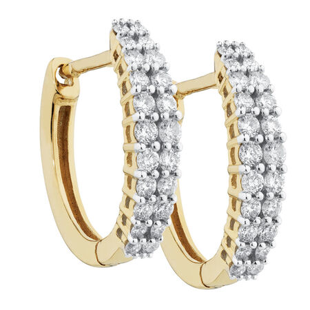 Huggie Earrings with 0.40 Carat TW of Diamonds in 10ct Yellow Gold