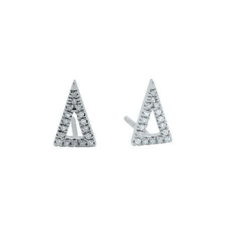 Triangle Stud Earrings with Diamonds in 10ct White Gold