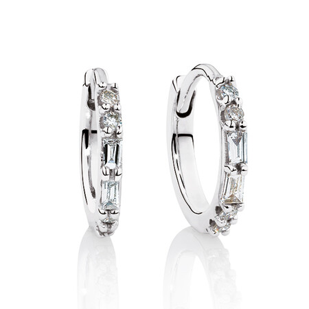 Hoop Earrings with Diamonds in 10ct White Gold
