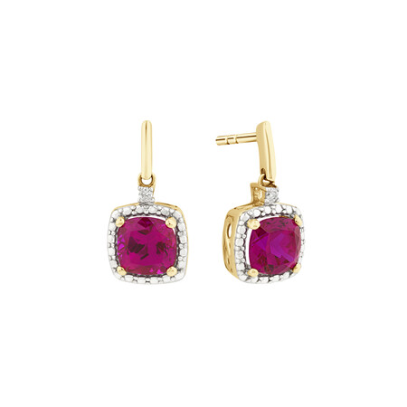 Stud Earrings with Created Ruby & Diamonds In 10ct Yellow & White Gold