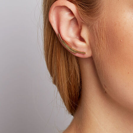 Patterned Ear Climbers in 10ct Yellow Gold