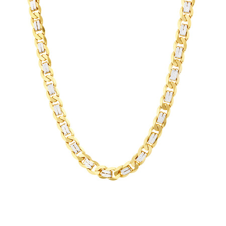 "55cm (21.6"") Curb Chain In 10ct Yellow And White Gold"