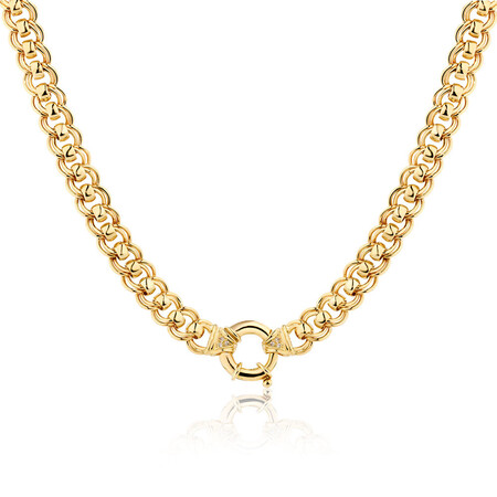 Diamond Set Solid Roller Chain in 10ct Yellow Gold